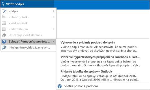 Ak potrebujete s niečím pomôcť, do poľa Chcem zistiť v Outlooku zadajte, čo chcete urobiť