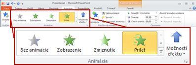 Karta Animácie na páse s nástrojmi programu PowerPoint 2010