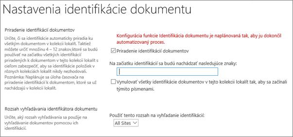 Priradenie identifikátorov dokumentov na stránke nastavení identifikácie dokumentu