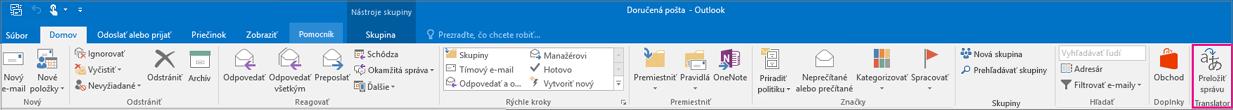 Pás s nástrojmi Outlooku 2016 so zvýrazneným tlačidlom Preložiť správu