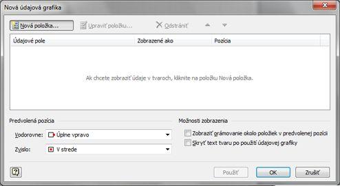 Dialógové okno Nová údajová grafika.