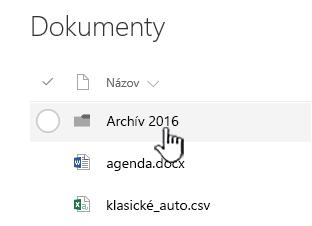 Knižnica dokumentov SharePointu Online so zvýraznenou položkou Priečinok
