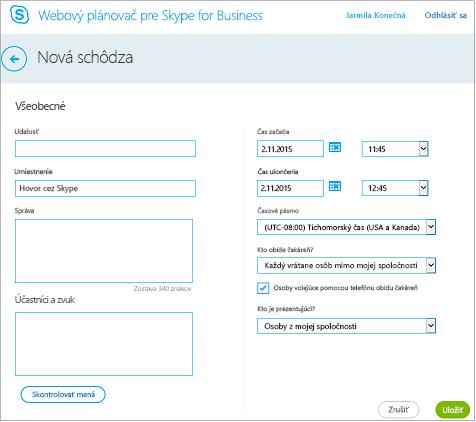 Obrazovka webového plánovača, kde sa zadávajú podrobnosti oschôdzi apridávajú pozvaní používatelia