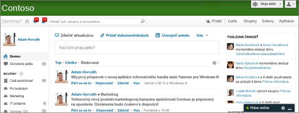 Snímka obrazovky domovskej stránky lokality Yammer.com