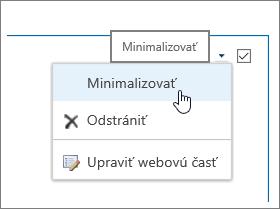 Ponuka webovej časti so zvýraznenou položkou Minimalizovať