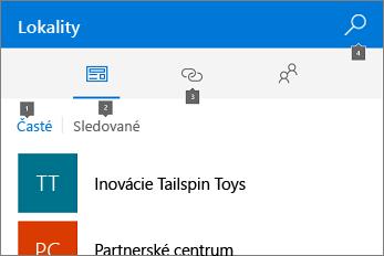 Snímka obrazovky s kartou Lokality
