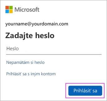 Zadajte svoje heslo služby Outlook.com