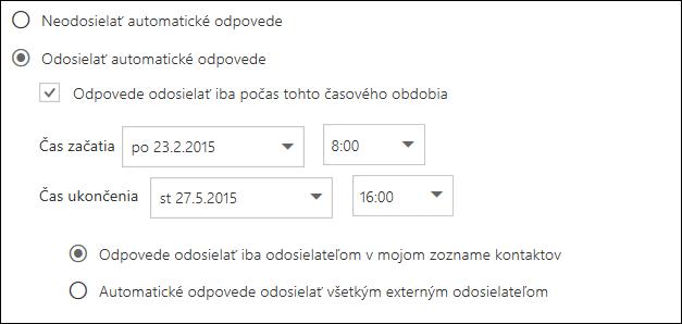 Nastavenie času automatických odpovedí vOutlooku na webe