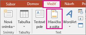 zobrazuje tlačidlo Vložiť > Hlavička v PowerPointe