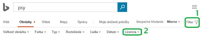 Kliknite v pravom okraji okna na tlačidlo Filter a potom kliknite na ponuku pre filter Licencia.