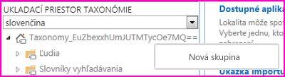 Snímka obrazovky s navigačnou tablou nástroja na správu ukladacieho priestoru výrazov, so zobrazením vybratej položky ponuky Nová skupina