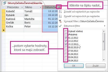 Filtrovanie stĺpca v dotaze počítačovej databázy.