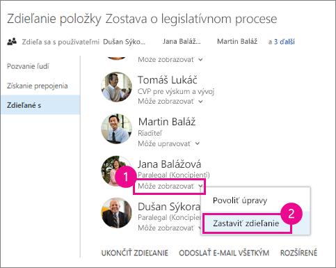 Snímka obrazovky s postupom na ukončenie zdieľania s jednou osobou