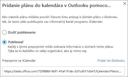 Snímka obrazovky s dialógovým oknom Pridanie plánu do kalendára programu Outlook