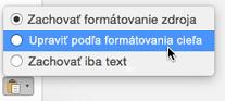 Možnosti prilepenia pri prilepovaní textu do Outlooku pre Mac