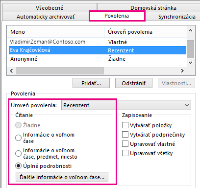 Karta Povolenie na zdieľanie kalendára v Outlooku 2013