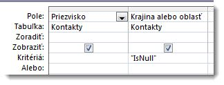 Obrázok zobrazujúci pole kritérií v návrhárovi dotazu, ktoré majú hodnotu null