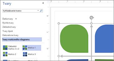 Zoznam dostupných tvarov v ľavej polovici obrázka a vybratý tvar v pravej polovici