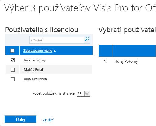 Vyberte používateľov, ktorým chcete odstrániť licencie.