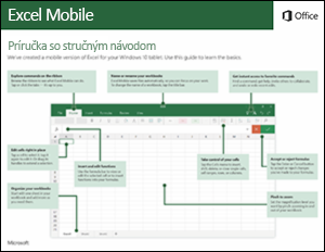 Príručka so stručným návodom pre Excel Mobile