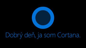 "Ikona Cortany, ako sa zobrazuje na obrazovke so slovami ""Ahoj. Ja som Cortana pod ikonou."