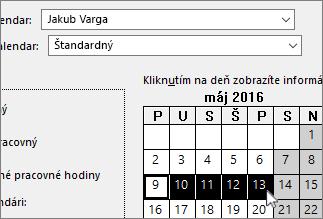 Dni voľna vybraté v kalendári