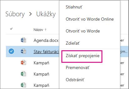 Snímka obrazovky zdieľania dokumentu použitím možnosti Získať prepojenie