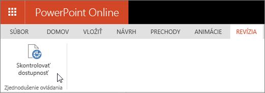 Snímka obrazovky s kartou Revízia. Kurzor ukazuje na možnosť Skontrolovať dostupnosť.