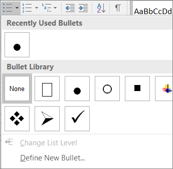 Snímka obrazovky možností štýlu odrážok