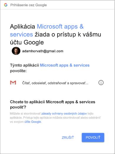 Zobrazuje sa okno povolení pre Outlook na udelenie prístupu k vášmu kontu Gmail