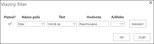 Konfigurácia filtra na navrhované žiadosti o zdroje
