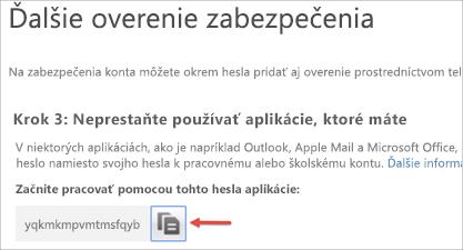 Obrázok ikony kopírovania na skopírovanie hesla aplikácie do Schránky.
