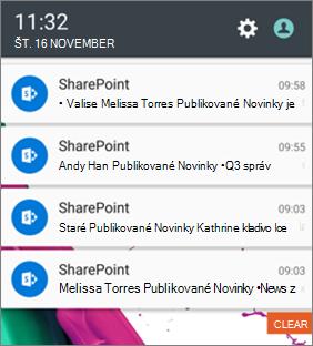 Príklad oznámenia o novinkách v mobilnom zariadení