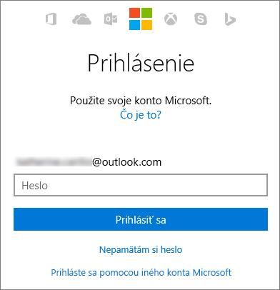 Snímka obrazovky zobrazujúca obrazovku prihlásenia do konta Microsoft