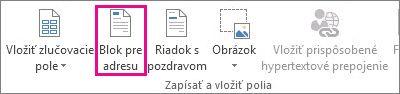Príkaz Blok pre adresu na karte Korešpondencia