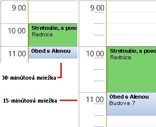 Príklad 30-minútovej alebo 15-minútovej mriežky kalendára