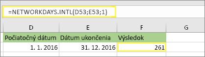 =NETWORKDAYS.INTL(D53;E53;1) a výsledok: 261