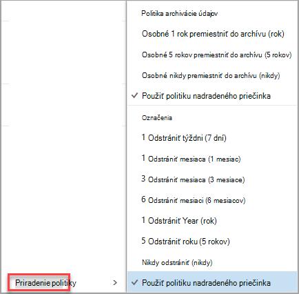 Kliknite pravým tlačidlom myši správy zobrazíte priradiť politiku možnosti