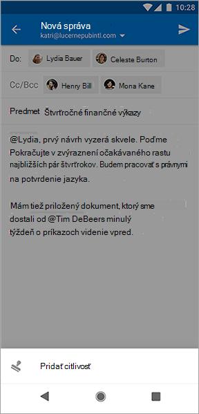 Snímka obrazovky s tlačidlom pridať citlivosť v Outlooku pre Android