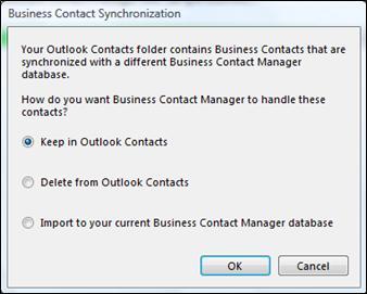 dialógové okno synchronizácie obchodného kontaktu