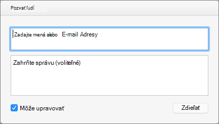 Zadajte mená kontaktov alebo e-mailové adresy, ak chcete odoslať pozvánky pre príjemcov.