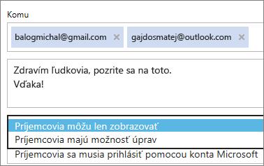 Výber iba na zobrazovanie a prihlasovanie požadovaných možností e-mailom pozvánku