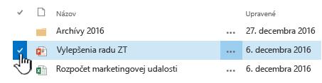 Ak chcete súbor vybrať kliknutím na znak začiarknutia naľavo od názvu
