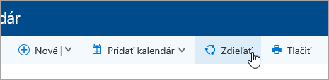 Snímka obrazovky s tlačidlom Zdieľať kalendár na navigačnom paneli.