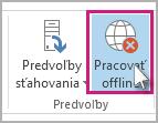 Tlačidlo Pracovať offline v Outlooku 2013