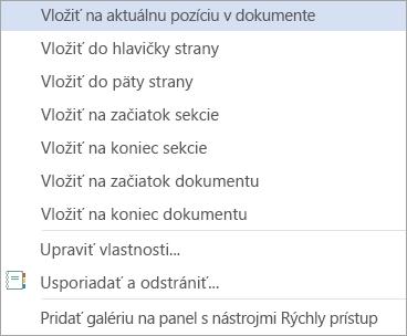 Príkazy položky Preddefinované bloky v galérii Rýchle tabuľky