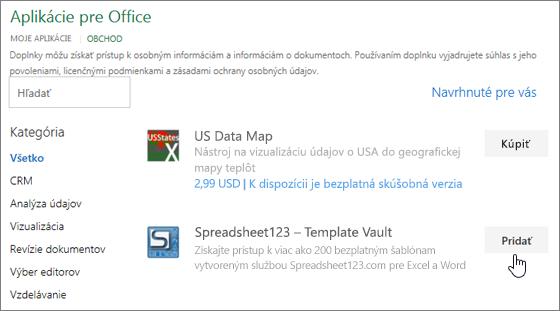 Snímka obrazovky zobrazuje doplnkov Office stránku, kde si môžete vybrať alebo vyhľadať add-in pre Excel.