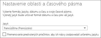 Nastavte jazyk v aplikácii Outlook Web App a rozhodnite, či chcete premenovať priečinky