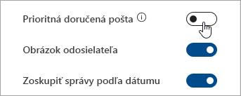 Snímka obrazovky s prepínač zamerané pre doručenú poštu v rýchle nastavenia