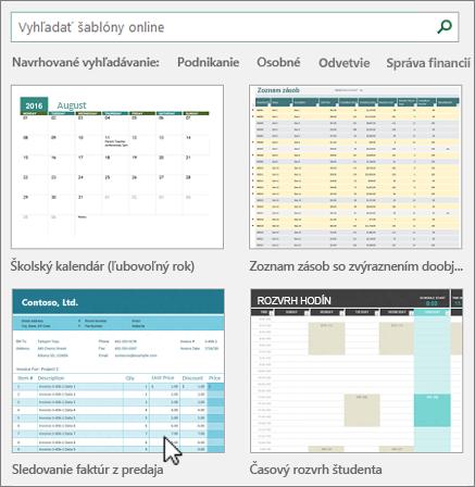 Šablóny programu Excel